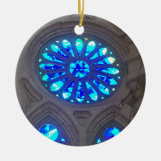 Blue Stained Glass Round Ceramic Decoration