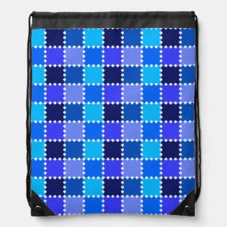 Blue Stamp Pattern Drawstring Backpack