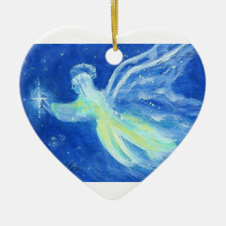 Blue Star Angel Heart Christmas Ornament
