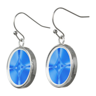 Blue Star Circular Drop Earrings