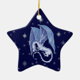 Blue Star Dragon Ceramic Ornament