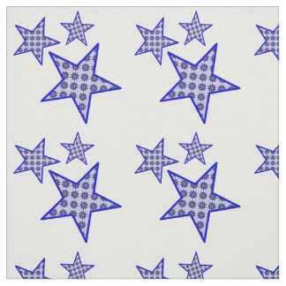 Blue star flowers on white in pattern on fabric