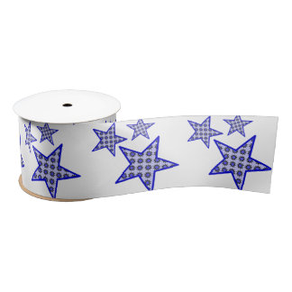 Blue star flowers on white in pattern on ribbon satin ribbon