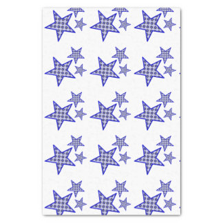 Blue star flowers on white in pattern on tissue tissue paper