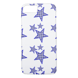 Blue star flowers on white in pattern phone case