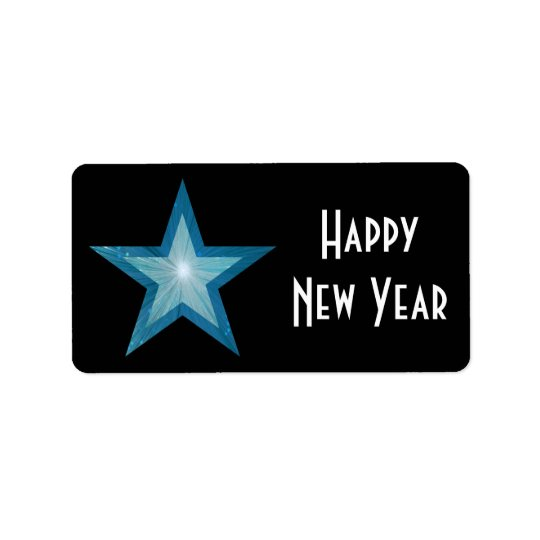 Blue Star Happy New Year medium large black Address Label