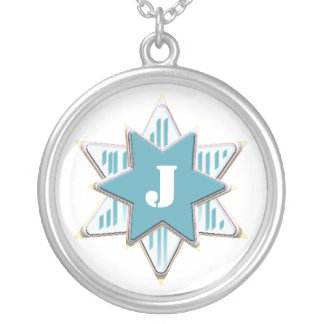 Blue Star Initial Necklace