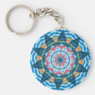 Blue star kaleidoscope basic round button key ring