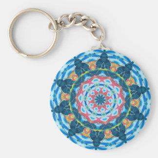 Blue star kaleidoscope key ring