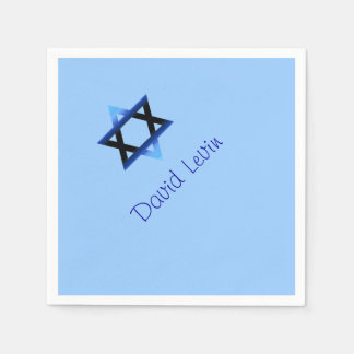 Blue Star of David Bar Mitzvah Napkins. Disposable Napkins