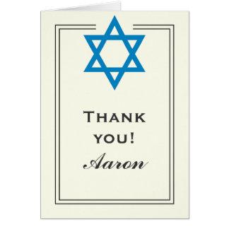 Blue Star of David Bar Mitzvah Thank You Card
