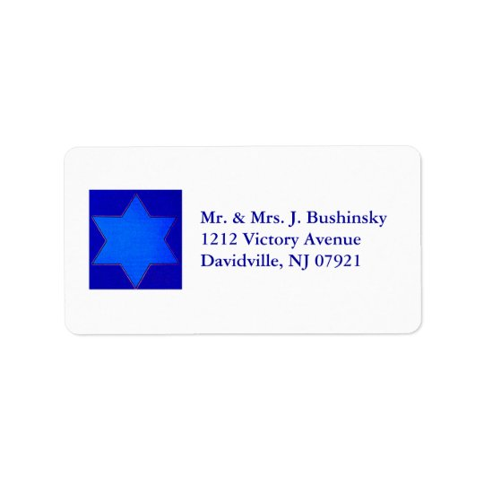 Blue Star of David Label Address Label
