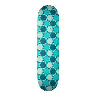 Blue Star of David Optical Illusion Pattern Skate Board