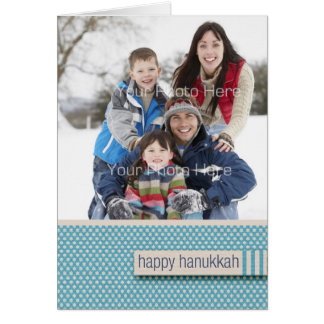 Blue Star Pattern, Happy Hanukkah Photo Greeting Card