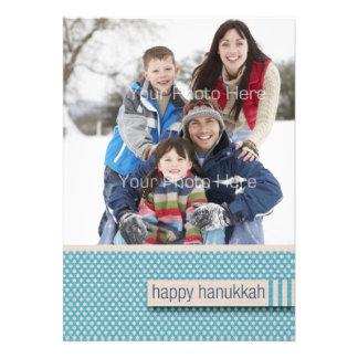 Blue Star Pattern Happy Hanukkah Photo Card