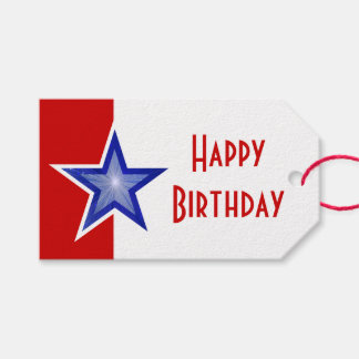 Blue Star Red print Happy Birthday Gift Tags