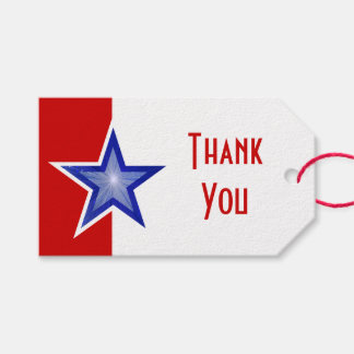 Blue Star Red print Thank You text Gift Tags