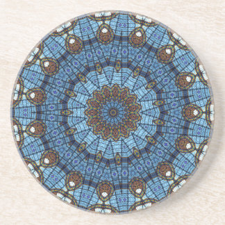 Blue Star Stained Glass Drink Coaster