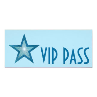 Blue Star 'VIP PASS' invitation pale blue long