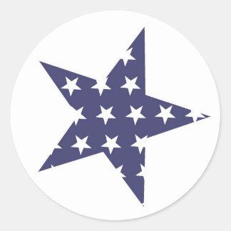 Blue star with white stars pattern round sticker