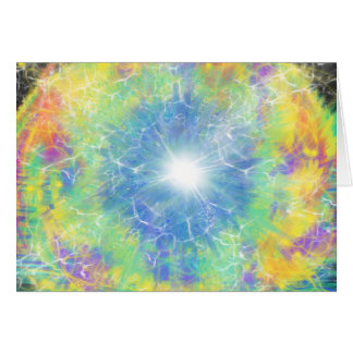 Blue Star Yellow Aqua Abstract Art Design Card