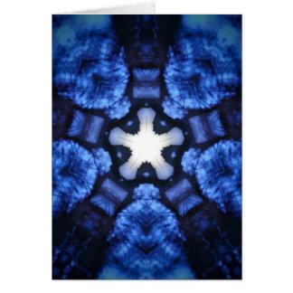 Blue Starburst Hippie Kaliedoscope Design Card