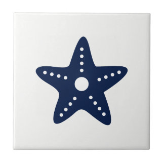 Blue Starfish on White Ceramic Tile