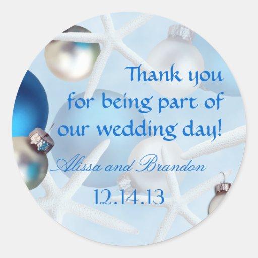 Blue Starfish Tropical Christmas Wedding Labels Sticker