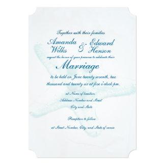 Blue Starfish Watermark Wedding Invitation