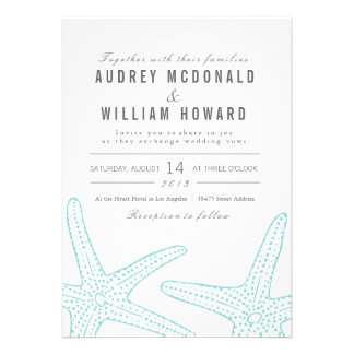 Blue Starfish Wedding Invite