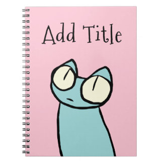 Blue Staring Cats Pink Notebook