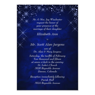 "Blue Starry Night Formal Wedding 5"" X 7"" Invitation Card"