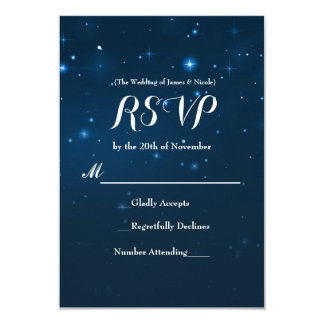 Blue Starry Night Sky Wedding RSVP Response Card