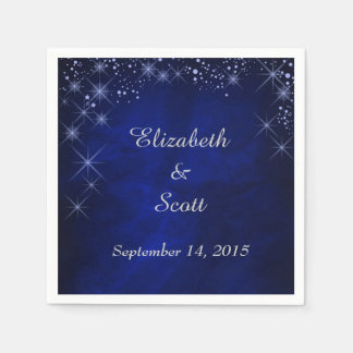 Blue Starry Night Wedding Paper Napkins