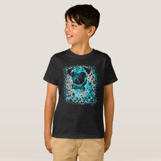 Blue Starry Pug. T-Shirt