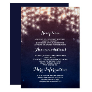 Blue Starry String Lights Wedding Information Card