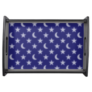 Blue stars and moons pattern serving tray
