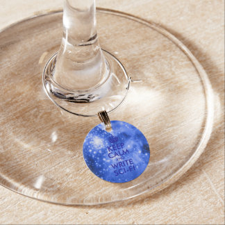 Blue Stars Keep Calm and Write Sci-Fi Wine Charm