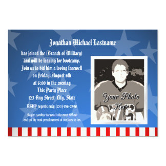 Blue Stars Military Going Away Party 13 Cm X 18 Cm Invitation Card