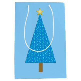 Blue stars modern Christmas tree Medium Gift Bag