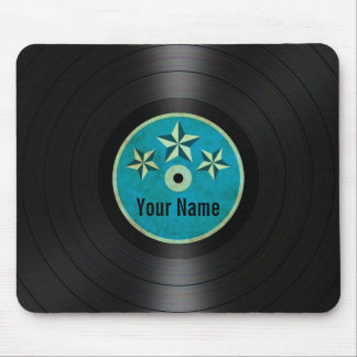 Blue Stars Personalized Vinyl Record Album Mouse Pad