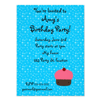 Blue stars pink cupcake birthday invitation