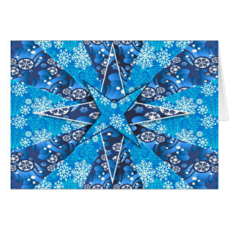 Blue stars with snowflakes on Christmas card