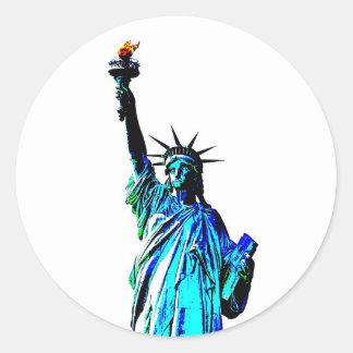Blue Statue of Lady Liberty Classic Round Sticker