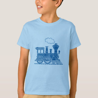 Blue steam locomotive train light t-shirt