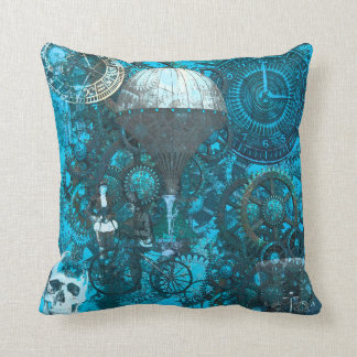 Blue Steampunk Pillow Cushion