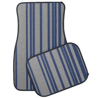 Blue steel gray awning stripe car mat sets