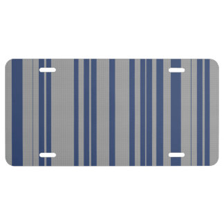 Blue steel gray awning stripe license plate covers license plate