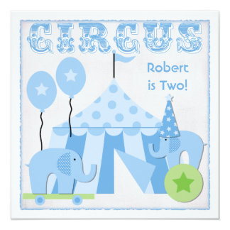 Blue Step Right Up Circus Birthday Invitations