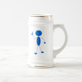 Blue Stick Figure Number One Mugs